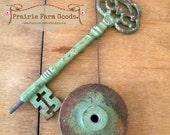 Steampunk large metal skelton key Chippy Rustic Distressed Primative Farmhouse Vintage style ESC RDT green