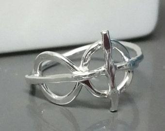 Infinity Cross Ring, Eternity Christian Faith Jewelry, Fine Silver, Rustic Sideways Cross Ring, Size 8, Handmade by Maggie McMane Designs