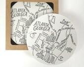 Letterpress Atlanta, Georgia Map Coasters