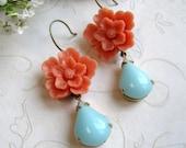 Orange flower earrings, vintage style, blue glass teardrop, dangles, cottage chic