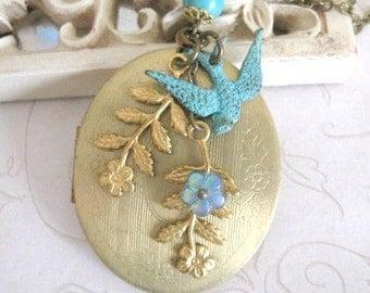 Long vintage locket necklace, oval brass locket, verdigris bird charm, keepsake locket, Botanical Bird original design