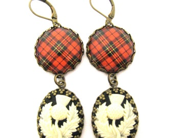 Scottish Tartan Jewelry - Tartans Special Occasion Collection - Brodie Clan Tartan Earrings w/Thistle Cameos
