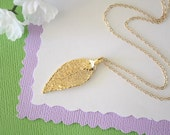 Small Gold Evergreen Leaf Necklace, Evergreen, Real Gold Leaf, Real Evergreen Leaf Necklace, Evergreen Leaf, Gold Filled, LC155