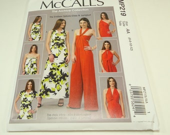McCall's Endless Options Dress And Jumpsuit Pattern MP219 Size 6-8-10-12  Circa 1976 Retro