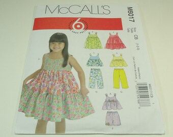McCall's Toddlers' And Children's Tops, Dresses, Shorts And Pants Pattern M6017 Size 1-2 3 Six Great Looks One Great Pattern