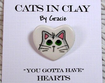 White Cat Heart Shaped Clay Pin Brooch Handmade by Grace M Smith Kiln Fired