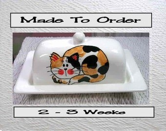 Calico Cat On Ceramic Butter Dish Handpainted Original by Grace M Smith