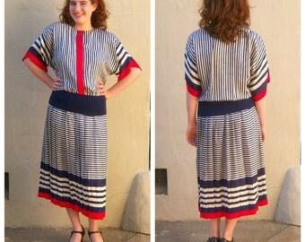 80s sailor dress / ADRIANNA PAPELL silk dress / red white blue dress / stripes pleated 20s style dress / womens small medium