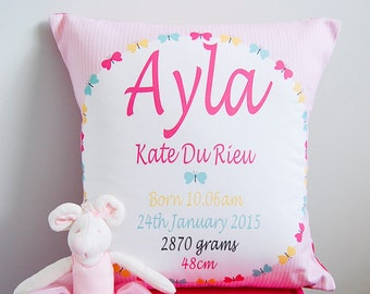 Baby Girls Butterfly Personalised Birth Cushion