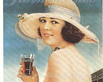Digital Download Vintage PostCard and Calendar Images Beautiful Girls Drinking Coca Cola 0025