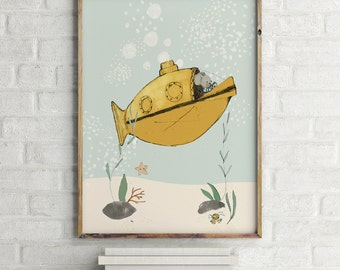 Yellow submarine - Boy Art - Holli - Nursery Wall Art - Nursery Decor - Childrens Art - Kids Wall Art - Nursery Art