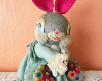 Vintage Felt Bunny Rabbit with Hand Painted Features and Fluffy Cheeks Unusual Stuffed Easter Doll