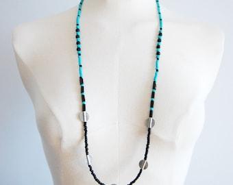 boho mala necklace / turquoise howlite / lava / minimalist / turquoise / boho / seed bead / statement necklace