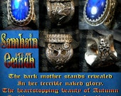Shamhain Ceilidh Favor of the Morrigan Blue Rainbow moonstone set in tree of life and Fairy design