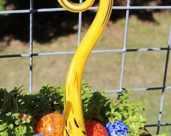 Sunshine Yellow Glass Fiddlehead Garden Art Sculpture Outdoor Decoration