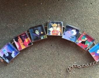 Disney Princess Villians Choose your favorite bad guys -- link bracelet FREE US ship