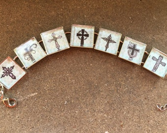 Black Decorative Crosses Christian Bracelet- Choice of backgrounds!  FREE USA Shipping