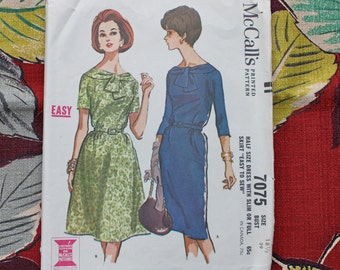 1960s Sewing pattern / 1960s Dress Pattern / McCall's 7075 / 1960s Sewing Pattern / Bust 39""