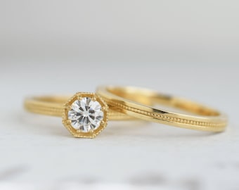 Half Carat Diamond Art Deco Engagement Ring | .50 carat Canadian Diamond Solitaire | Octagon Prong Setting | 14k 18k Yellow Gold