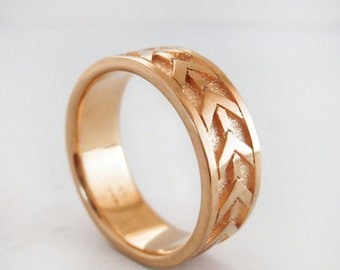 Men's Rose Gold Wedding Band | Heavy 7mm Rose Gold Wedding Ring | 14K Recycled Rose Gold Ring| Eco friendly Wedding Ring