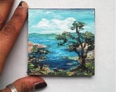 "Mini Oil Painting Seascape Trees Mountains Ocean 3""x 3"" READY to SHIP"
