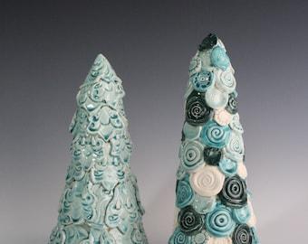 Blue Christmas tree decoration. Gift set. Modern, unique mantle decor set. Handmade ceramic