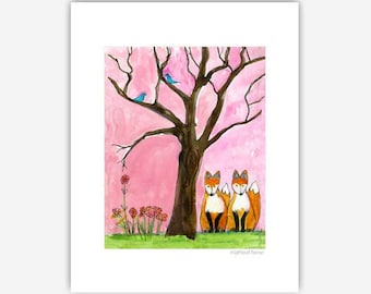Fox Print, Forest Friends, Woodland Animals, Illustrations Print, Colorful Wall Art, Watercolor Drawing Sketch, Woodland Creatures