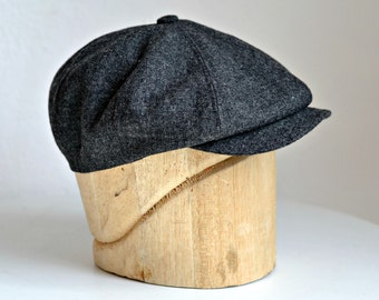 Men's Newsboy Cap in Charcoal Wool - Newsboy Hat - Made to Order in Your Size