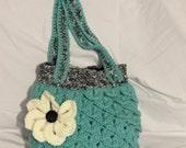 Boho chic purse, flower bag, crochet handbag, flower handbag, shoulder bag, Medium size handbag