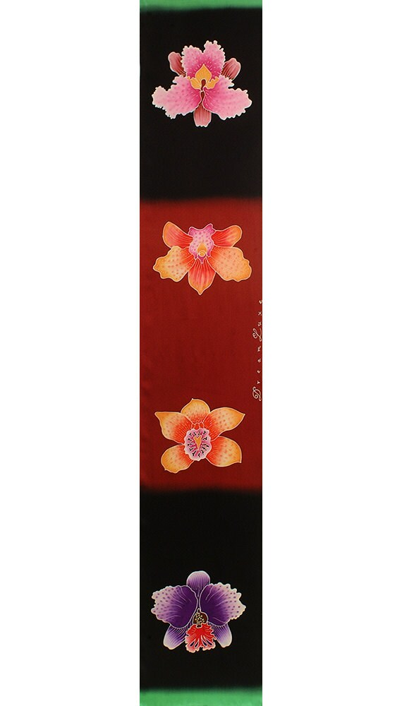 Colorful orchid floral hand painted soft fashion silk scarf