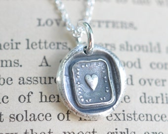 heart wax seal necklace … love - fine silver antique French wax seal jewelry