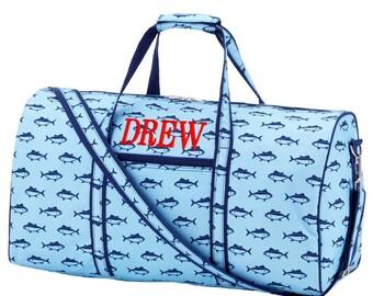 Personalized Duffle Bag Nautical, Travel Duffle, Boys Monogrammed Duffle, Finn Collection