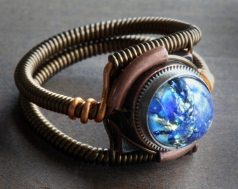 Steampunk Ring, Blue Harlequin Glass ,Copper and Antique Bronze ring band, Trending now