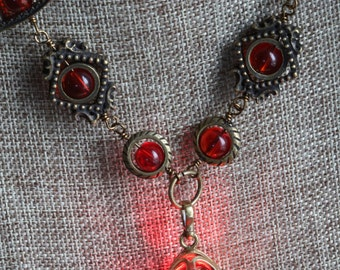 Neo Victorian Jewelry - Necklace - Red Drop locket with glowing orb Antique Bronze