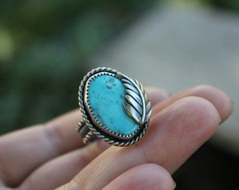American turquoise ring - sterling silver ring - statement ring - metalwork - southwestern ring - leaf ring - rope ring