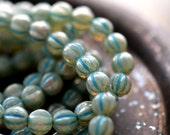 Last Listing - Winter Wonderland, Czech Glass Beads, Milky Aqua, Mercury Finish, Turquoise Wash, Baby Melon Rounds 6mm - Pc 25
