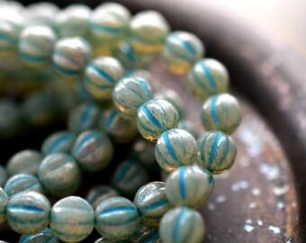 Winter Wonderland, Premium Czech Glass Beads, Milky Aqua, Mercury Finish, Turquoise Wash, Baby Melon Rounds 6mm - Pc 25