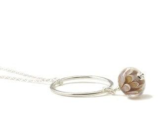 Hoop Necklace | Flower Lampwork Glass and Sterling Silver Hoop Pendant Style Necklace | UK Lampwork Jewellery