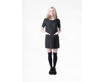 LINEN dress BLACK mini minimal Pockets shift loose 90s short sleeve Small / better stay together
