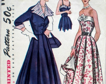 Vintage 1950s Dress & Jacket Pattern Simplicity 8382 Bust 32 New Look Style Detachable Collar and Cuffs Strapless Dress