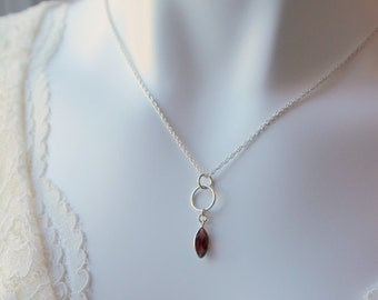 Garnet  Birthstone Necklace in Sterling Silver / Dainty Red Garnet Necklace  / January Birthstone Birthday Gift for Her / Valentine Necklace