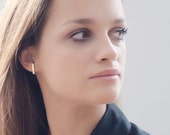Phoebe Earrings - Handmade Gold Flat Bar Earrings, 14K Solid Gold Minimalist Earrings,  Curved Ear Climbers,  High Fashion Jewelry