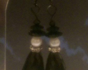 Black Crystal Witch Earrings