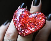 Resin Jewelry Ring Heart Shaped Resin Truly Big Bling... bold fiery red with highlights by isewcute