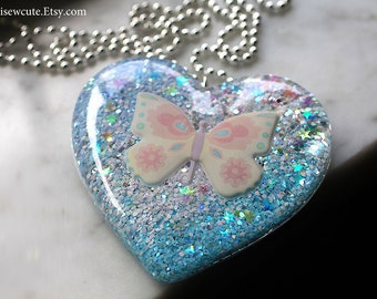 Cotton Candy Pink Blue Butterfly Necklace, Resin Pendant, Statement Jewelry, Huge Pastel Glitter Heart Necklace, Harajuku Style by isewcute