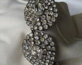 VINTAGE Silver Metal & Clear Rhinestone JEWELRY Clamper Bracelet