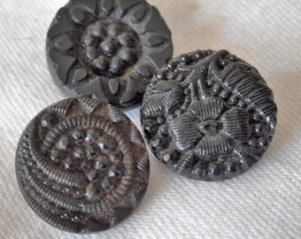 Lot of 3 ANTIQUE Small Lacy Black Glass BUTTONS  L3