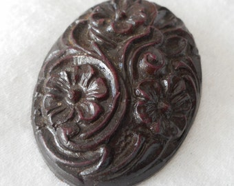 VINTAGE Brown Plastic Flower Fur or Dress Clip