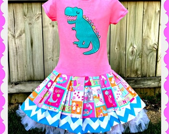 Girls Dinosaur dress T-Rex dress 2T 3T 4T and 5T Ready to Ship