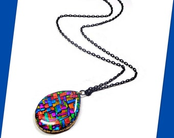 Mosaic Teardrop Necklace- Jewelry Gift- Statement Necklace- Faux Dichroic Pendant- Gifts for Her- Polymer Clay Pendant